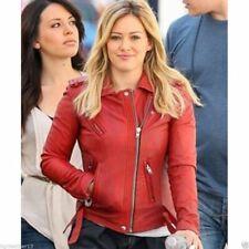 Women's Lambskin soft Real Leather Red Jacket Motorcycle Slim fit Biker Jacket