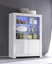 Mobile vetrina moderna  Amalfi Vetrina 2 ante Vetro e laccato Bianco lucido