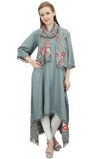 Bimba Rayon Gray High Low Designer Indian Kurta Casual Wear Kurti With Scarf