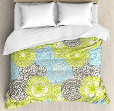 Ethnic Duvet Cover Set with Pillow Shams Pastel Folk Style Flower Print