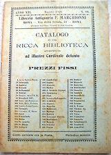 1910 CATALOGO LIBRERIA ANTIQUARIA F. MARCHIONNI ROMA