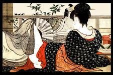 Vintage Japanese poster.Couple.Asian Room Art Decor.House Interior design.476