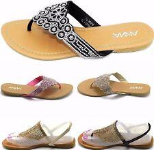 Woman's Multi Color Gladiator Toe Post Rhinestones Flat Sandal Shoe Sz 5-10
