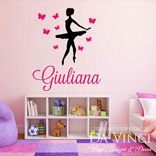 Personalized Name Ballet Ballerina Butterflies Dance Vinyl Decal Wall Sticker