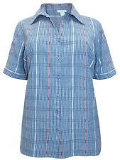 PURE COTTON  PLUS SIZE BLUE STRIPE BLOUSE SHIRT TOP  SIZE  16-30 £18.99 FREE P&P