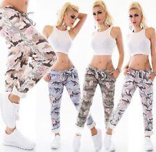 Damen Italy Jeans Hose Pants Baggy Boyfriend Camouflage Blumen Pailletten 36 -40