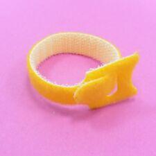 GIALLO 15 cm Organizzatore CRAVATTE Cinturino Regolabile in Nylon Cavo Cord Hook Loop Riutilizzabile