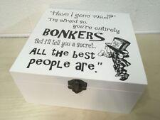 Beautiful Alice in Wonderland White Wooden Box - Mad Hatter Gift