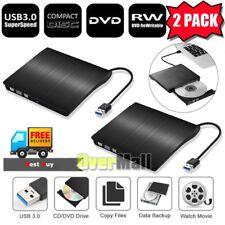 Lot 2 x External USB 3.0 DVD RW CD Writer Slim Drive Burner Player Reader Black