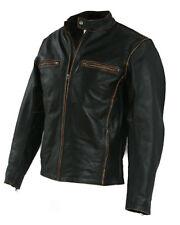Biker Motorcycle Leather Jacket Vintage Aged Brown-BNWT