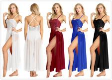 Sexy Women Lyrical Dance Dress See-through Mesh Sequin Bodice Tulle Maxi Skirt