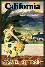 CALIFORNIA New Retro Train Travel Poster Southern Pacific Palm Bay Art Print 114