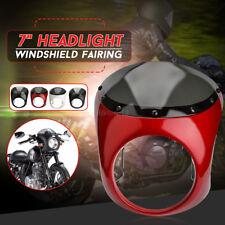 "Universal Cafe Racer Handlebar 7"" Headlight Windshield Fairing Screen Fit Harley"