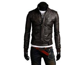UK Man Men GENUINE Leather Jacket Biker Coat Slim Fit Veste Homme Cuir M15p