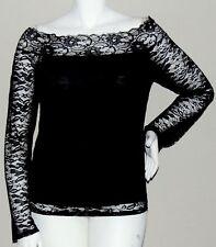 Bottlette Black Layered Lace Off Shoulder Stretch Top Blouse - Plus 1XL 2XL 3XL