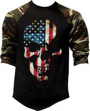New listing Men's Americana Skull Us Flag Camo 3/4 Sleeve Baseball Raglan T Shirt Usa Army