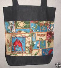 New Handmade Lg Christmas Holiday Cardinals Tote Bag