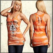 Affliction AC Fallen Angels Skull Spade Women Racer Tank Top Orange Tie Dye L-XL