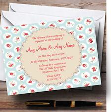 LUCE BLU E ROSSO ROSE SHABBY CHIC Chintz personalizzato wedding invitations