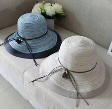 Women Lady Retro Chic Summer Brim Beach Travel Straw Sun bucket Panama Hat Cap