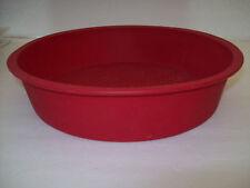 "Red Silicone Round Cake Pan 9"" Waffle Bottom"