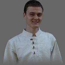 Edad media camisa S-XXXL la edad media camisa seda algodón botones de madera, 2 FB.