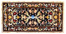 Black Marble Dining Table Top Rare Gem Inlay Pietradure Home Art Decorated H3016