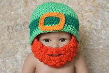 Knit Crochet Baby Child Kids Full Beard Hat Beanie Newborn Photo Prop Hat Green