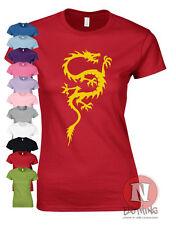 Chinesisch Dragon Kung Fu Karate Kampfsport Asien Japan Damen Buchse T-Shirt