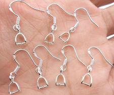 Free 50-200PCS 925 sterling silver Hooks Earrings Pinch Bail Earring Earwire DIY