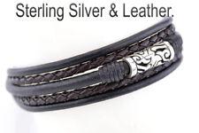 NEW CUSTOM MADE Genuine Sterling Silver Leather Wristband Men's Bracelet 5B-097