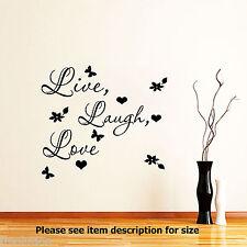 LIVE Laugh Love Muro Citazione ADESIVI Rimovibili Vinile Decalcomania HOME arte decorazione D2