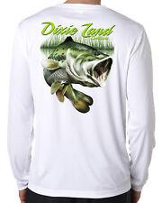Dixie Land Outdoors microfiber Bass long sleeve fishing t shirt 50+ uv polyester