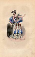 Stampa antica POLINESIA FRANCESE ballerina di Tahiti Polynesia 1852 Old print