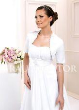 (BK-5) Brautjacke Bolero Hochzeit Brautbolero Satin Spitze 36,38,40,42,44,46 NEU