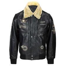 Mens Real Leather Black Detachable Fur Collar Badge Jacket Aviator Bomber S -6XL
