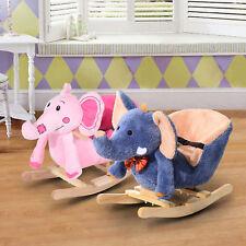 Children Kids Wooden Rocking Horse Rocker Elephant Ride On Toy Gift Seat Songs