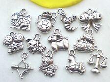 12pcs Tierkreis Sternzeichen Anhänger Schmuckverbinder Schmuckherstellung
