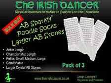 Large Stone AB Diamonted White Ankle Length Poodle Socks - BULK BUY Pack of 3