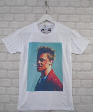 Uptown Classics Fight Club Brad Pitt Cult Film White Crew Neck Tee T-shirt