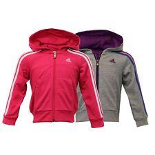 Girls Sweatshirt ADIDAS Kids Hooded Stripes Top Children Casual Zip Loopback New