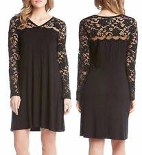 Karen Kane L13739 Black Lace V-Neck Stretch Jersey Scallop Lace  Dress - $129