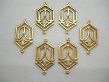 Raw Brass Drops Earring Findings Stampings Art Deco - 6