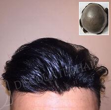 Thin Skin Toupee Mens Hair Replacement System Hairpiece BIO Skin Human Hair
