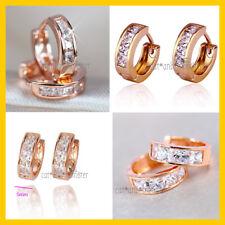 24CT ROSE GOLD GF SIMULATED DIAMOND SOLID MENS WOMENS HOOP SLEEPER EARRINGS GIFT