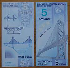 FEDERATION OF NORTH AMERICA 5 AMEROS POLYMER BANKNOTE 2011 UNC