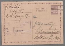1942 Prague Bohemia postcard Cover to Litzmannstadt Ghetto Poland Judaica