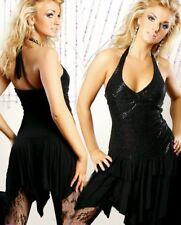 SeXy Miss Damen Girl Glitzer Neckholder Mini Kleid Zipfel Dress 34/36/38 schwarz