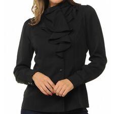 Womens Sweet Habit Black Ruffle Long Sleeve Button Down Casual Blouse S M L XL