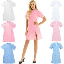 Solid Color Short Sleeve Lab Hospital Nurse Dress Scrub Coat Uniform Sleepwear